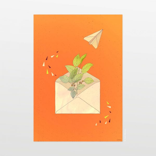 Letter from home (orange) by Carin Marzaro - stampa artistica fine art giclée print