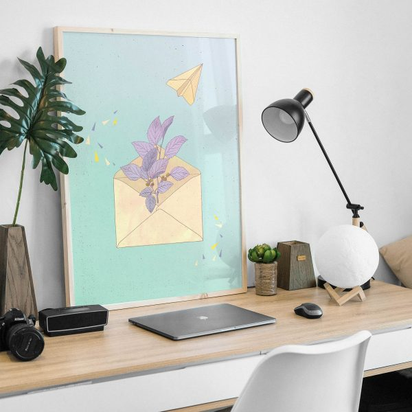 Letter from home (light blue) by Carin Marzaro - stampa artistica fine art giclée print